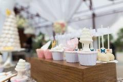 Wedding cakes. At outdoor wedding party stock photos