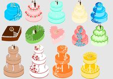 Wedding cakes set Stock Photo