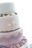 Wedding cakes. Tiered wedding cakes at indoor wedding party Stock Photos