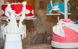 Wedding cakes  and wedding figurines Royalty Free Stock Photo