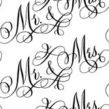Wedding calligraphy seamless pattern Stock Photos