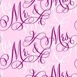 Wedding calligraphy seamless pattern Stock Image