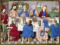 Wedding at Cana. Biblical theme - New Testament - The Wedding at Cana of Galilee. Reproduction of illustration from a very old Bible, Utrecht (circa 15th century Stock Image