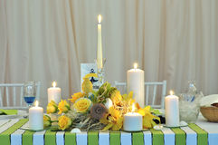 Wedding candle table arrangement Stock Photography