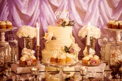 Wedding candy bar. Beautiful purple and golden wedding candy bar Royalty Free Stock Photos