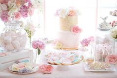 Wedding candy bar. Cakes flowers Royalty Free Stock Photo