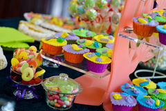 Wedding candy bar. In natural light Royalty Free Stock Photos