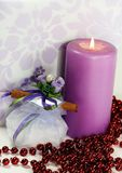 Wedding Candy-box, An Invitation And A Lit Candle Royalty Free Stock Images