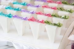 Wedding candy buffet. Many wedding favors for guest royalty free stock images