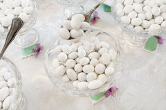 Wedding candy. Sugared almonds for a wedding royalty free stock photo