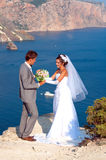 Wedding. At Cape Fiolent against the sea Stock Photography
