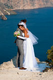 Wedding. At Cape Fiolent against the sea Royalty Free Stock Images