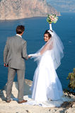 Wedding. At Cape Fiolent against the sea Royalty Free Stock Image