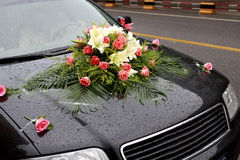 Wedding car. Decorated with colorful flowers in wedding ceremony Stock Photos