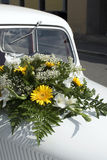 Wedding car. A white decorated car for a wedding ceremony - detail Royalty Free Stock Photo