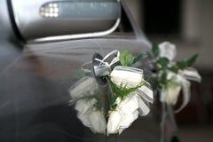 Wedding car. Flower on wedding car's handles stock photos