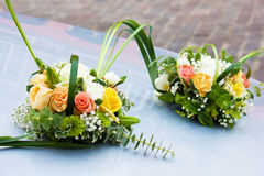 Wedding car. Car with wediing decoraions of flowers and ribbon Stock Image