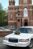 Wedding car. In front of church Royalty Free Stock Photography