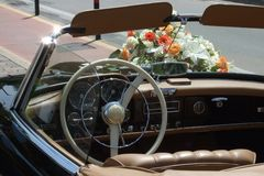 Wedding car. Some pics of a vintage car with flowers for a wedding Royalty Free Stock Photos