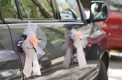Wedding car. A wedding car with design flowers Stock Photo