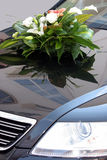 Wedding car. Decorated with bouquet stock photos