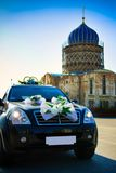 Wedding car. Near old church royalty free stock photography