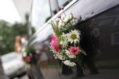 Wedding car. Flower on wedding car's handles Stock Photo