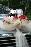 Wedding car with bear Royalty Free Stock Photo