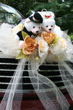 Wedding car with bear. Red wedding car with bridal bear and roses bouquet Royalty Free Stock Photos