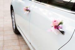 Wedding car with beautiful flower Stock Image