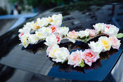 Wedding car decor flowers bouquet. car decoration Royalty Free Stock Photo