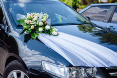 Wedding car decor flowers bouquet. car decoration Stock Photo