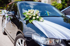 Wedding car decor flowers bouquet. car decoration Royalty Free Stock Photography