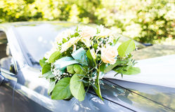 Wedding car decor flowers bouquet. Royalty Free Stock Photography