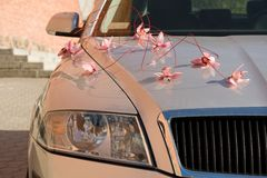 Wedding car decorated Royalty Free Stock Photography