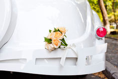 Wedding Car Decorated with Flowers Stock Images