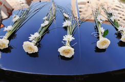 Wedding  Car. Decorated with flowes Stock Photo