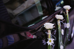 Wedding  Car with white flowers on it Stock Image
