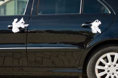 Wedding car decorated by ribbons Stock Images