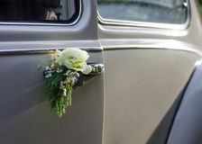 Wedding car decorated with rose Stock Photography