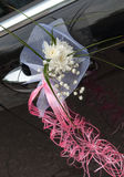 Wedding car decoration. With flowers and ribbons Stock Image