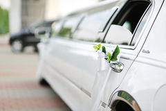 Wedding car decoration. With flowers outdoor Stock Photo