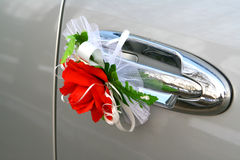 Wedding car decoration. Red rose Stock Photo