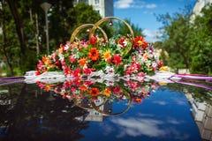 Wedding car decoration Stock Images