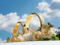 Wedding car decoration close-up. Stock Photography