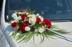Wedding car decoration. With flowers Stock Photos