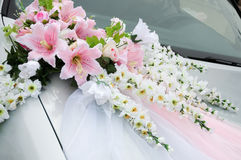 Wedding car decoration. With flowers Stock Images