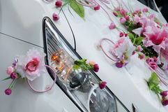 Wedding car decoration. With flowers Royalty Free Stock Photos