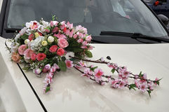 Wedding car decoration. With flowers Royalty Free Stock Images