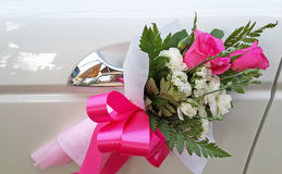 Wedding car decoration. With pink rose Royalty Free Stock Photography
